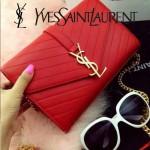 YSL 07-3 時尚優雅女士Paris系列紅色羊皮繡花線單肩斜挎包