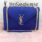 YSL 26588 時尚經典款MONOGRAMME寶藍色翻蓋單肩晚宴包