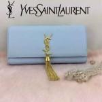 YSL 26578-8 歐美時尚新款淺藍色平紋牛皮流蘇手拿晚宴包單肩斜挎包