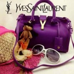 YSL 03-10 時尚白領經典款紫色牛皮小號手提單肩包