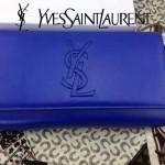 YSL 05-5 人氣百搭新款女士藍色牛皮翻蓋手拿晚宴包