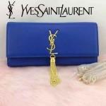 YSL 26578-6 歐美時尚新款藍色平紋牛皮流蘇手拿晚宴包單肩斜挎包