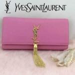 YSL 26578-2 歐美時尚新款粉色平紋牛皮流蘇手拿晚宴包單肩斜挎包