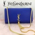 YSL 26594-5 歐美流行元素藍色平紋牛皮流蘇鏈條單肩斜挎包