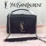 YSL 26604-2 潮流新款女士Monogramme bag黑色人字紋手提單肩包