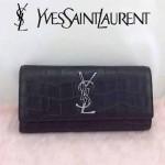 YSL 354119 時尚高貴奢華黑色鱷魚紋翻蓋手拿晚宴包