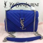 YSL 26604 潮流新款女士Monogramme bag寶藍色人字紋手提單肩包