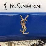 YSL 011-3 名媛必備單品女士藍色亮光球紋翻蓋手拿晚宴包小包