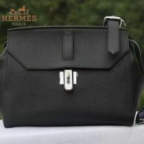 HERMES H037-3 專櫃最新款女士黑色牛皮單肩斜挎包