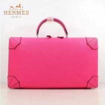 HERMES 8097-3 歐美時尚男女款馬克西系列桃紅色牛皮手提多功能旅行箱