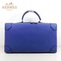 HERMES 8097-5 歐美時尚男女款馬克西系列藍色牛皮手提多功能旅行箱