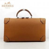 HERMES 8097-4 歐美時尚男女款馬克西系列土黃色牛皮手提多功能旅行箱