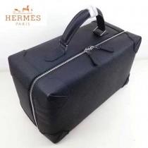 HERMES 8097 歐美時尚男女款馬克西系列黑色牛皮手提多功能旅行箱
