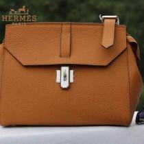 HERMES H037-7 專櫃最新款女士土黃色牛皮單肩斜挎包