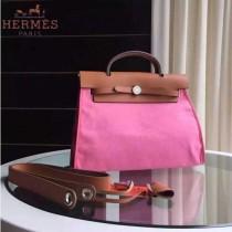 HERMES-0007-8 時尚新款herbag系列原單櫻花粉帆布配土黃色牛皮大號手提單肩包