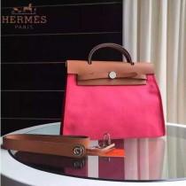HERMES-0007-7 時尚新款herbag系列原單桃紅色帆布配土黃色牛皮大號手提單肩包