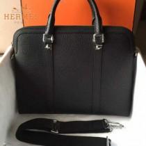 HERMES-0004-2 新款商務男士黑色原版TOGO皮手提單肩包電腦包
