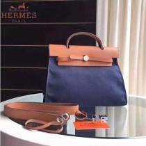 HERMES-0007-3 時尚新款herbag系列原單寶藍色帆布配土黃色牛皮大號手提單肩包