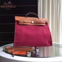 HERMES-0007-15 時尚新款herbag系列原單紅色帆布配土黃色牛皮大號手提單肩包