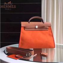 HERMES-0007-6 時尚新款herbag系列原單橙色帆布配土黃色牛皮大號手提單肩包