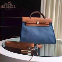 HERMES-0007 時尚新款herbag系列原單藍色帆布配土黃色牛皮大號手提單肩包