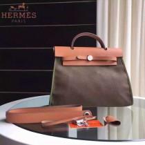 HERMES-0007-9 時尚新款herbag系列原單淺咖色帆布配土黃色牛皮大號手提單肩包