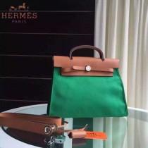 HERMES-0007-10 時尚新款herbag系列原單綠色帆布配土黃色牛皮大號手提單肩包