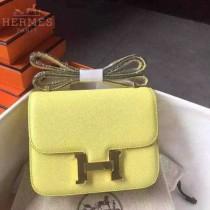 HERMES-0006-6 新款女士constance系列黃色原版皮雙層空姐包單肩斜挎包