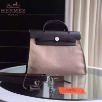 HERMES-0007-13 時尚新款herbag系列原單卡其色帆布配黑色牛皮大號手提單肩包