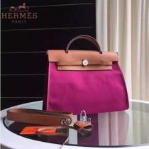 HERMES-0007-5 時尚新款herbag系列原單玫紅色帆布配土黃色牛皮大號手提單肩包