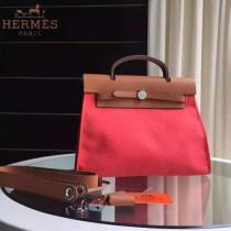 HERMES-0007-11 時尚新款herbag系列原單唇膏粉帆布配土黃色牛皮大號手提單肩包
