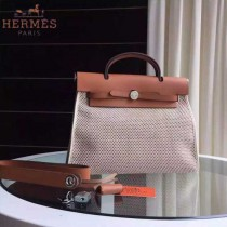 HERMES-0007-12 時尚新款herbag系列原單編織帆布配土黃色牛皮大號手提單肩包