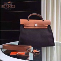 HERMES-0007-4 時尚新款herbag系列原單黑色帆布配土黃色牛皮大號手提單肩包