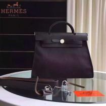 HERMES-0007-14 時尚新款herbag系列原單黑色帆布配黑色牛皮大號手提單肩包