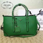 PRADA-003-10 小辣椒同款Double Bag系列綠色十字紋手提單肩包購物袋