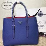 PRADA-003-4 小辣椒同款Double Bag系列藍色十字紋手提單肩包購物袋