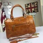 PRADA-002-5 時尚經典款女士杏色油蠟皮單肩斜挎包購物包