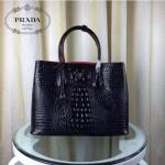 PRADA 2756-12 潮流百搭新款黑色鱷魚紋手提單肩包購物袋