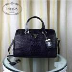 PRADA-001 人氣熱銷單品黑色鱷魚紋手提單肩包枕頭包