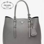 PRADA-003 小辣椒同款Double Bag系列灰色十字紋手提單肩包購物袋