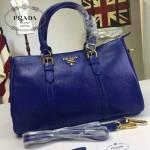 PRADA 3780-6 人氣爆款最新藍色摔紋牛皮手提斜挎包