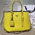 PRADA-003-2 小辣椒同款Double Bag系列黃色十字紋手提單肩包購物袋