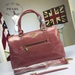 PRADA-002-2 時尚經典款女士粉紅色油蠟皮單肩斜挎包購物包