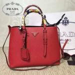 PRADA-003-5 小辣椒同款Double Bag系列紅色十字紋手提單肩包購物袋