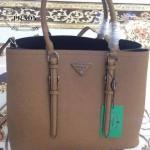 PRADA-003-9 小辣椒同款Double Bag系列土黃色十字紋手提單肩包購物袋