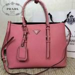 PRADA-003-7 小辣椒同款Double Bag系列粉紅色十字紋手提單肩包購物袋