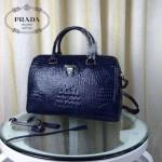 PRADA-001-2 人氣熱銷單品寶藍色鱷魚紋手提單肩包枕頭包