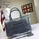 PRADA-002-3 時尚經典款女士灰藍色油蠟皮單肩斜挎包購物包
