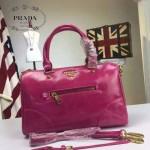 PRADA-002-4 時尚經典款女士玫紅色油蠟皮單肩斜挎包購物包