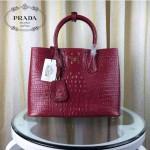 PRADA 2756-11 潮流百搭新款紅色鱷魚紋手提單肩包購物袋